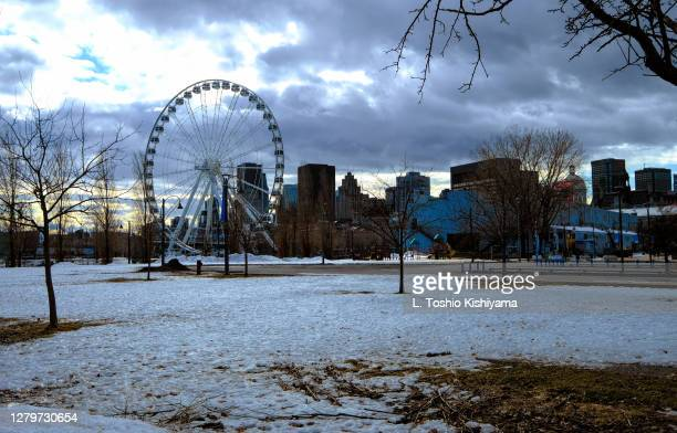 old port in montreal in winter - quebec stock pictures, royalty-free photos & images