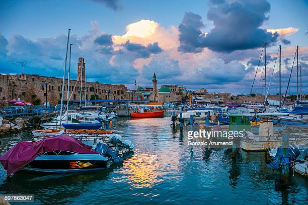 old port of akko in israel - israel stock pictures, royalty-free photos & images