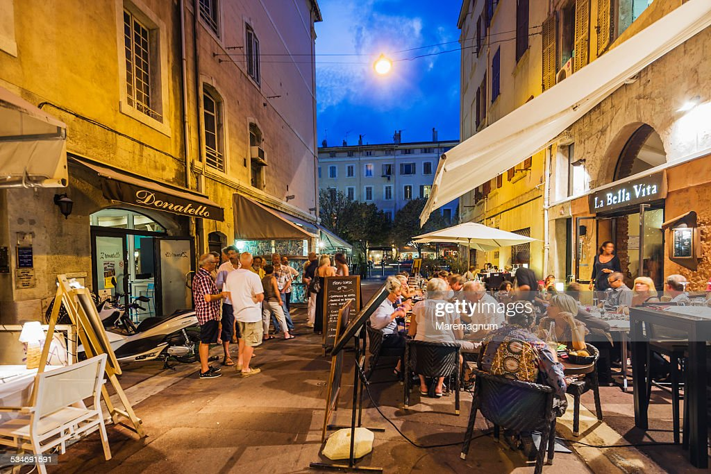Old Port Restaurants In Rue Street Saint Saens Stock Photo