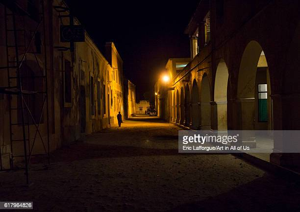 Old portuguese colonial buildings at night, island of mozambique, Mozambique on July 16, 2013 in Island Of Mozambique, Mozambique.