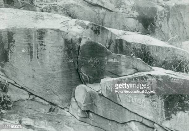 Old Portuguese inscription on rocks Matadi Matadi rock inscription Portuguese inscriptions possibly from the Diago Cão' expedition From a collection...