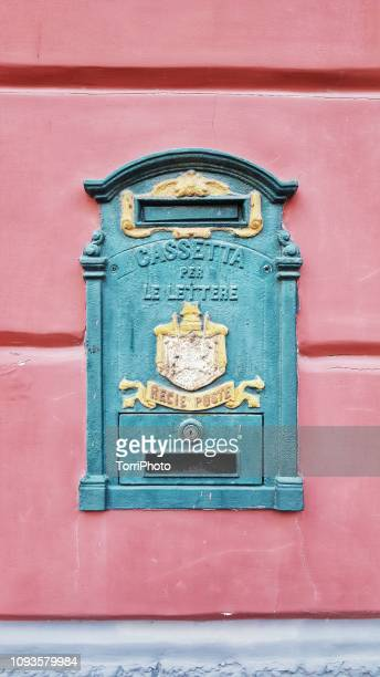 old post box on pink wall - pop art stock pictures, royalty-free photos & images
