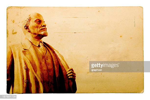 old postcard series - lenin - lenin stock pictures, royalty-free photos & images