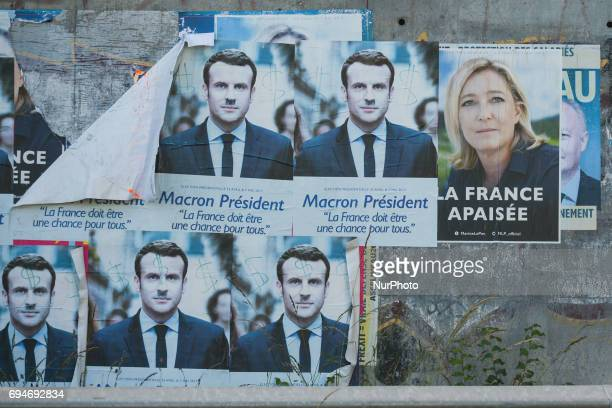 Old posters dating May 2017 French presidential election of newly elected French President Emmanuel Macron seen in Caen on the eve of French...