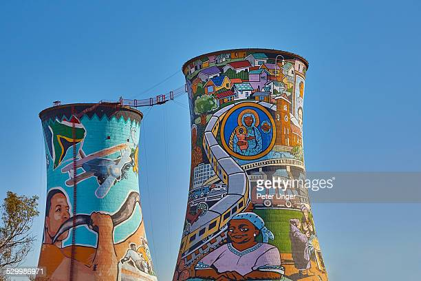 Old power station cooling towers with bungy jump
