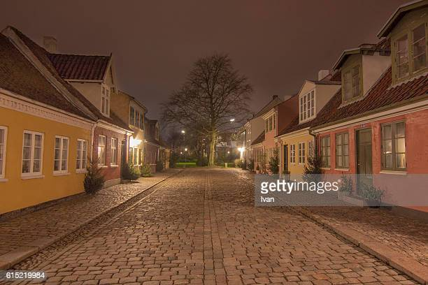 Old Precinct of Odense at Night, The Street of Fairy Tale, Denmark