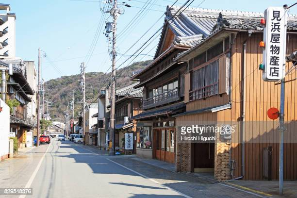 old private houses, shops at futamiura, ise, mie, japan - ise mie stock pictures, royalty-free photos & images