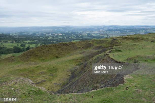 Old quarry on top of Titterstone Clee Hill on 22nd July 2020 in Cleedownton, United Kingdom. Titterstone Clee Hill, sometimes referred to as...