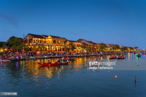 old quarters in hoi an at dusk - ancient stock pictures, royalty-free photos & images