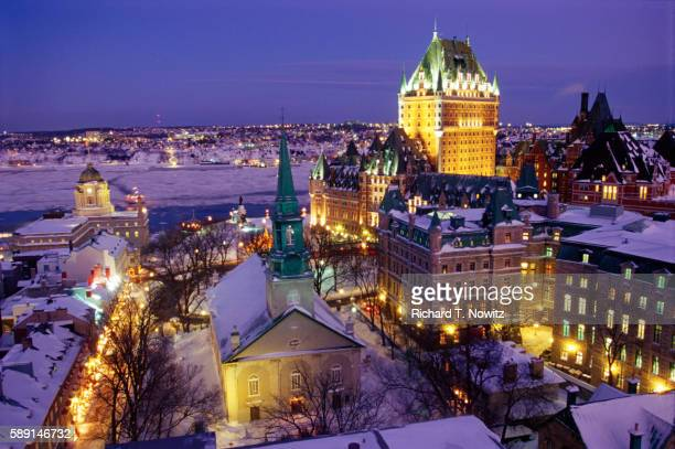 old quebec at dusk in winter - quebec city stock pictures, royalty-free photos & images