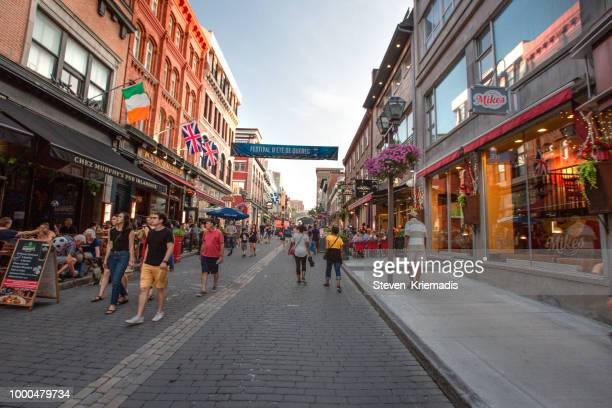 old quebec city - city street - old quebec stock pictures, royalty-free photos & images