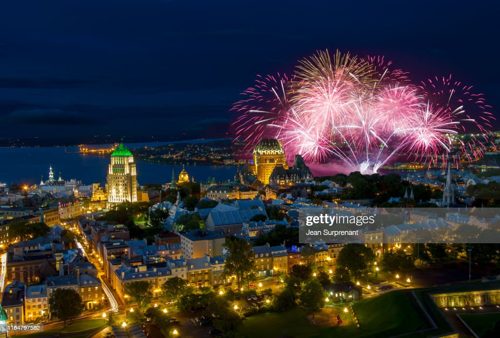 Old Quebec city Fireworks : Stock Photo