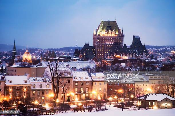 Old Quebec City on a winter night