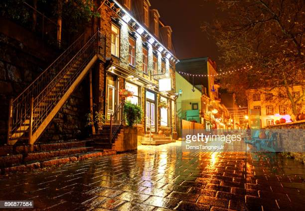 old quebec city - old quebec stock pictures, royalty-free photos & images