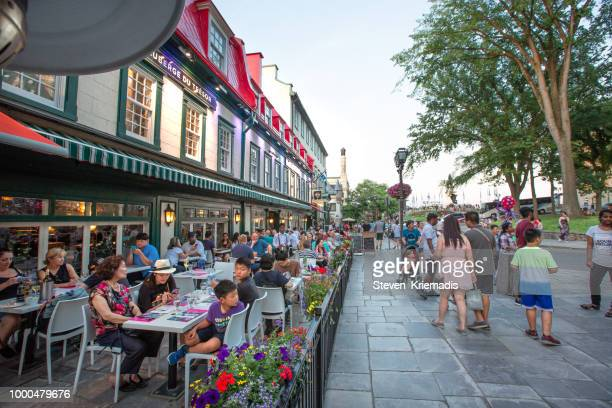 old quebec - patio - old quebec stock pictures, royalty-free photos & images