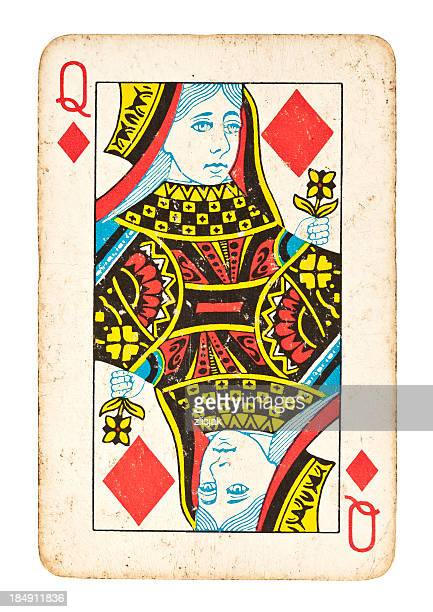 Old Queen of Diamonds Isolated on White