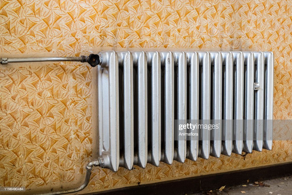 Old Radiator in the living room : Stock Photo