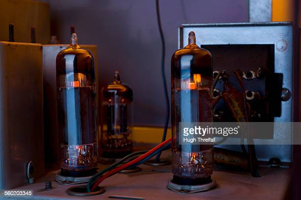 old radiogram glowing valves
