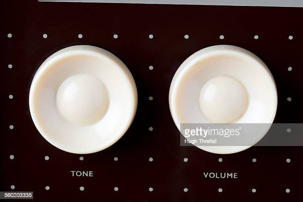 old radiogram volume and tone dials - hugh threlfall stock pictures, royalty-free photos & images