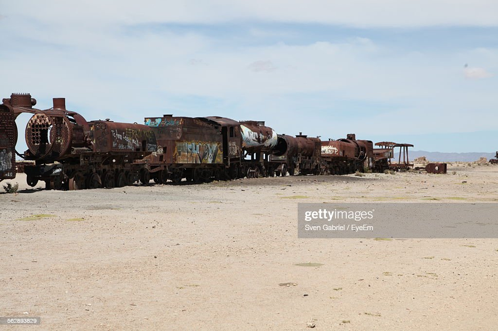 Old Railway Engines In Desert : Stock Photo
