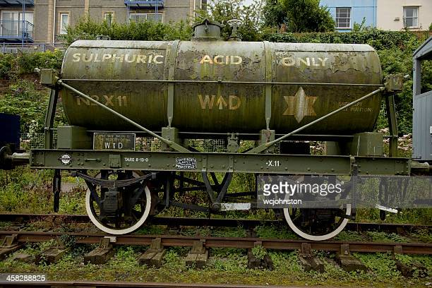old railway sulphuric acid container - sulfuric acid stock photos and pictures
