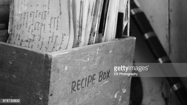 old recipe box - recipe stock pictures, royalty-free photos & images