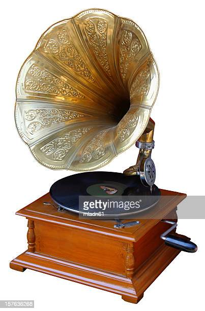 old record player with horn on white background - gramophone stock pictures, royalty-free photos & images