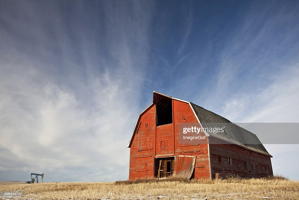 Old Red Barn on the Prairie : Stock Photo