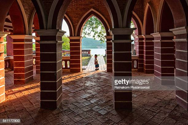 Old Red Castle with Little Boy