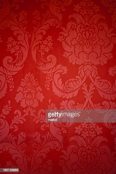 old red damask wallpaper with texture - victorian wallpaper stock pictures, royalty-free photos & images