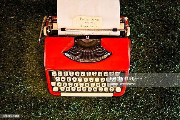 Old red typewriter