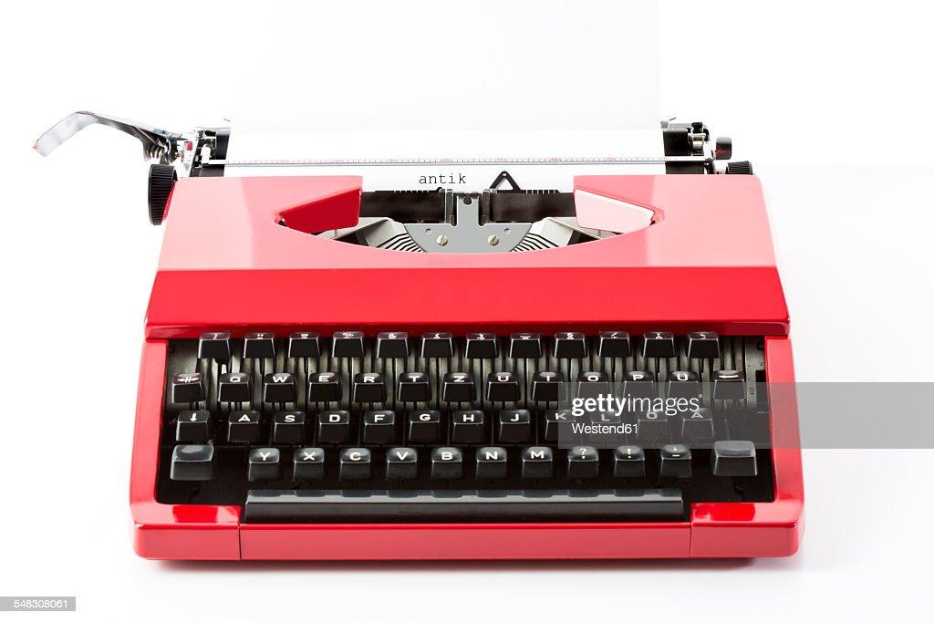 Old red typewriter : Stock Photo