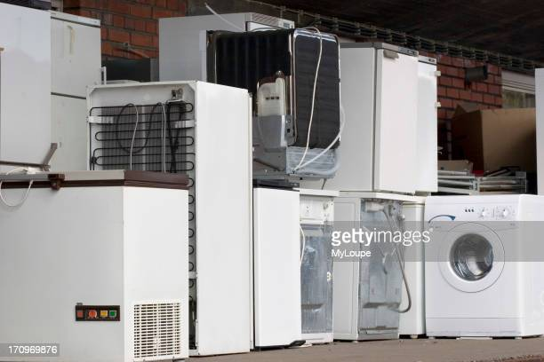 Old refrigerators and washing machines at recycling center