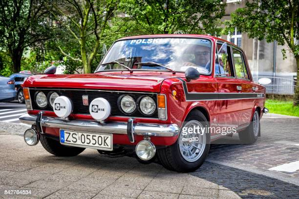old renovated polish red car polski fiat 125p - fiat stock photos and pictures