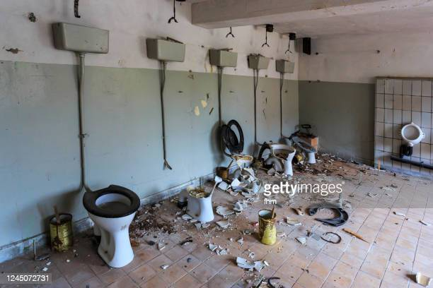 old restroom in an abandoned building - hygiene stock pictures, royalty-free photos & images