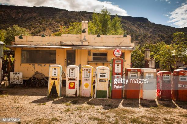 Old retro gas pumps at an abandoned filling station in New Mexico