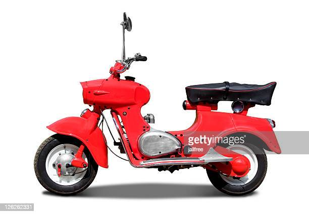 old retro red italian scooter on white background with path - moped stock photos and pictures