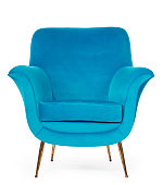 Old retro sixties style chair in blue