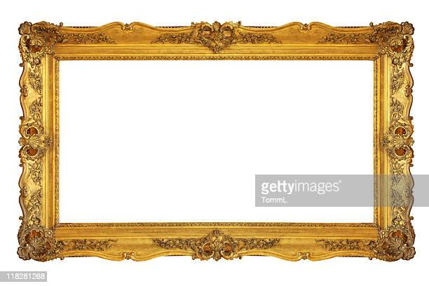 old revival golden picture frame (clipping path) - ornate stock pictures, royalty-free photos & images