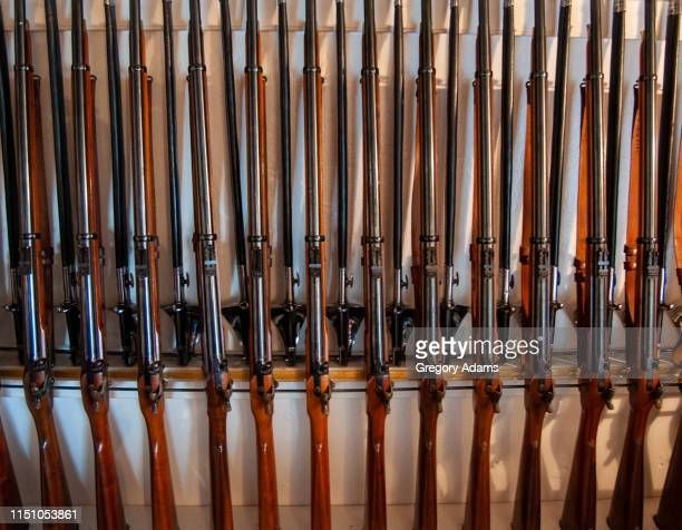 old rifles and swords in a rack ready for use - armory stock pictures, royalty-free photos & images