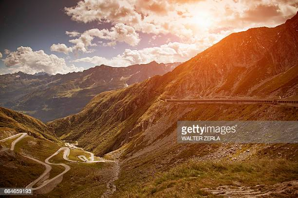 Old road with tight serpentines, Gotthard Pass, Ticino, Switzerland