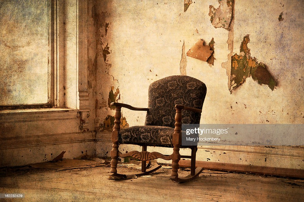Old Rocking Chair In Abandoned Building Stock Photo