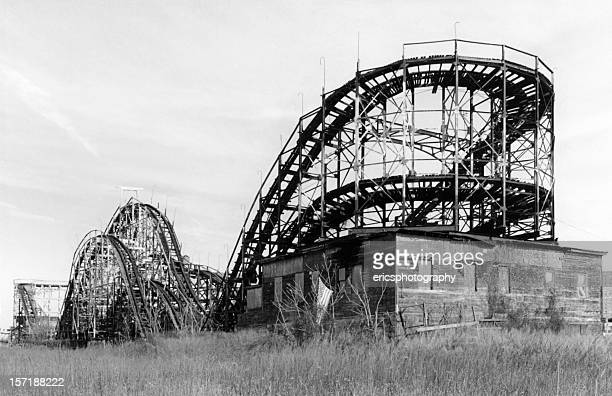 old rollercoaster in coney island ny - new york celebrity stock photos and pictures