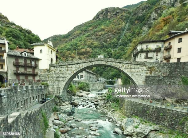 Old Roman bridge in Pont Saint Martin, Valle d'Aosta, Italy