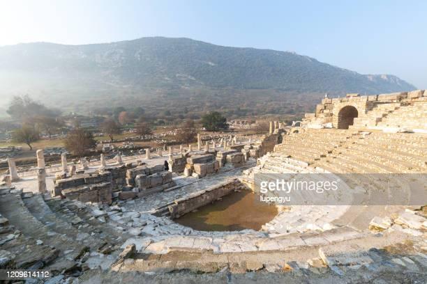 old roman outdoor theater,ephesus - ephesus stock pictures, royalty-free photos & images
