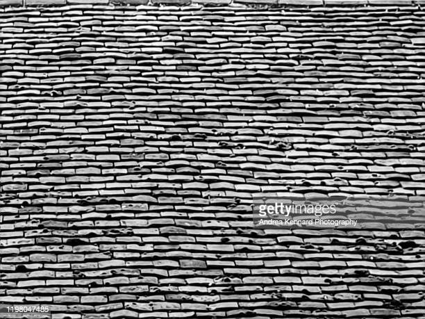 old roof slatted tiles - roof tile stock pictures, royalty-free photos & images