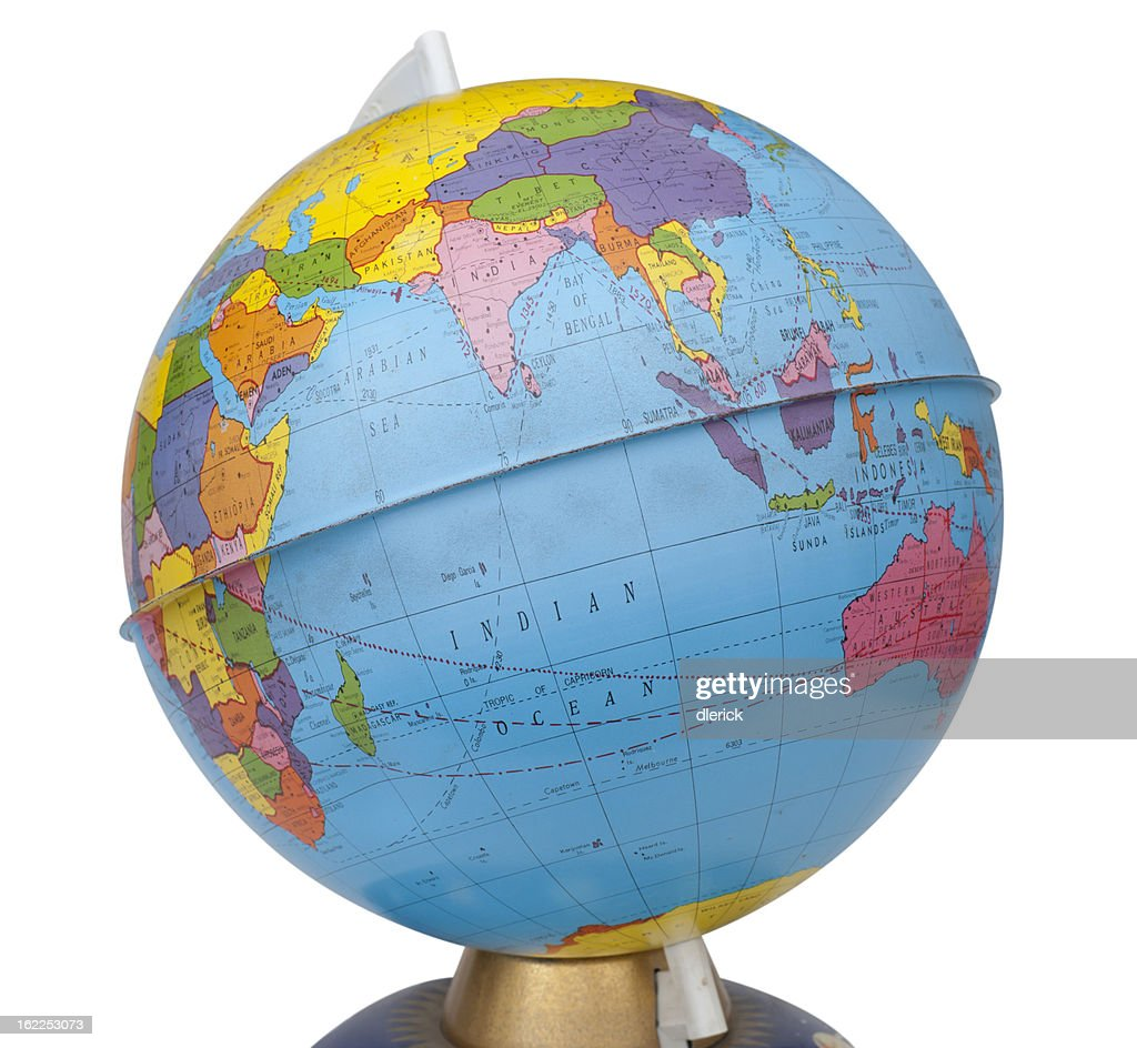 old rotating world map globe