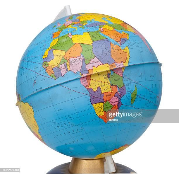 old rotating world map globe