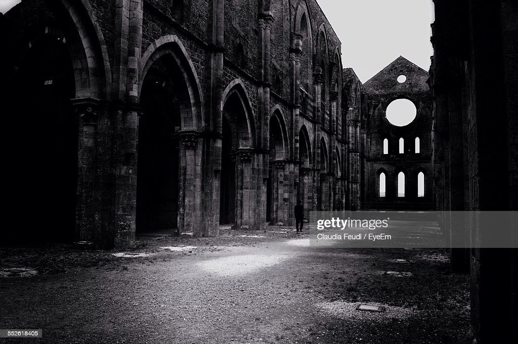 Old Ruin Of Gothic Church No Roof Stock Photo