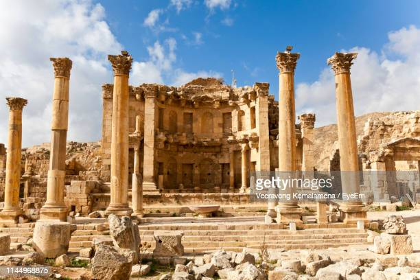 old ruins against sky - amman stock pictures, royalty-free photos & images